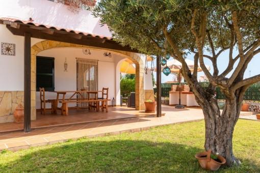 Idyllic, covered terrace