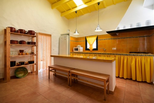 Large and tiled kitchen