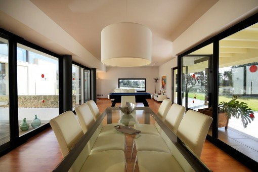 Inviting dining area with views of the garden