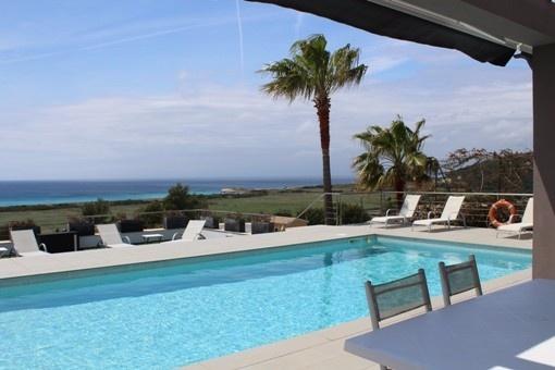 Pool terrace with sea views