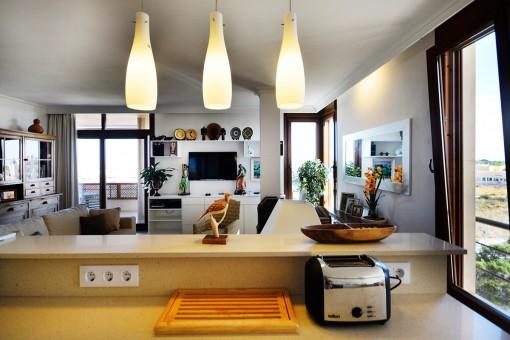 Open kitchen beside the living room