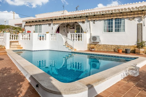Detached house in Cala en Porter with pool, garage and sea views
