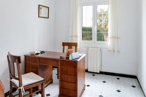 Peaceful office with wooden desk