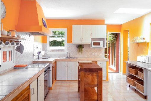 Spacious kitchen with terrace access