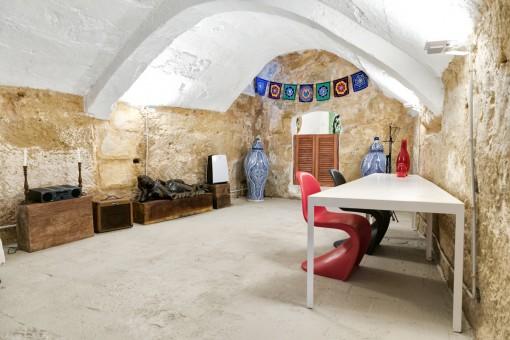 Impressive cellar with sandstone walsl