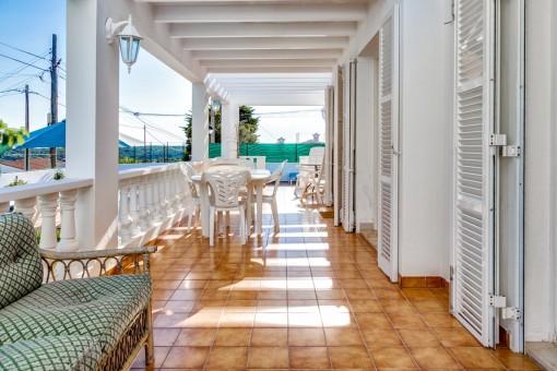 Spacious veranda with dining area
