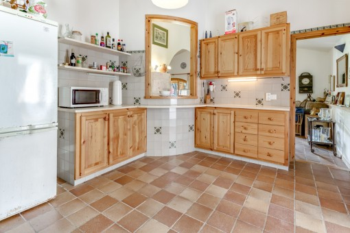Kitchen with hatch to the living area
