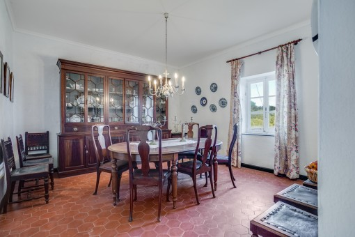 Wonderful dining area with wooden furniture