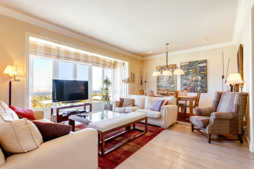 Sunny living and dining area