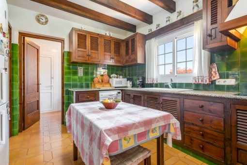Rustic kitchen with dining area