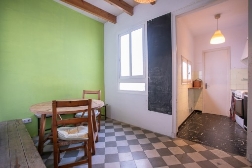Dining area with tiled floor