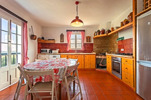 Rustic kitchen of wood