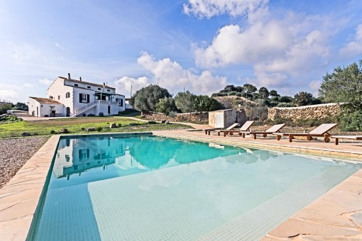 Exceptional property of 130 hectar with pool, touristic rental licence and wonderful views in Es Migjorn Gran