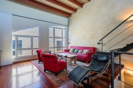 Living area with high ceiling