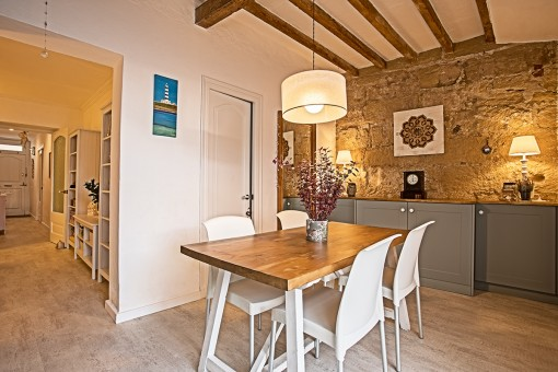 Dining area with beautiful stone walle