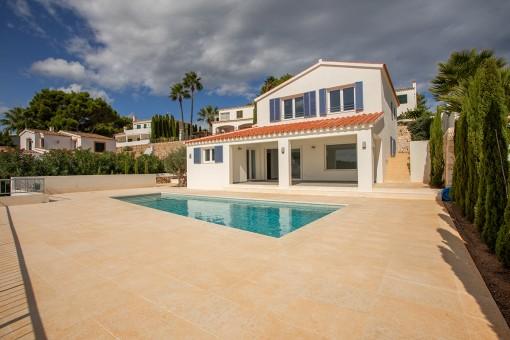Sunny terrace and pool area